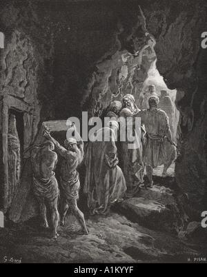 Gravure de la Dore Bible illustrant la genèse xxiii 19 et 20. L'enterrement de Sarah par Gustave Dore
