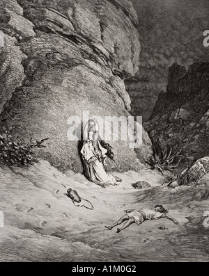 Gravure de la Dore Bible illustrant la genèse xxi 14 à 19. Agar et Ismaël dans le désert par Gustave Dore