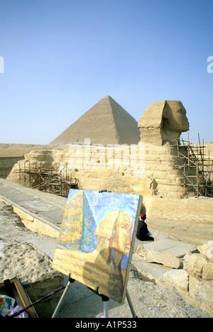 Grande pyramide de Khéops et Le Sphinx Gizeh Egypte Banque D'Images