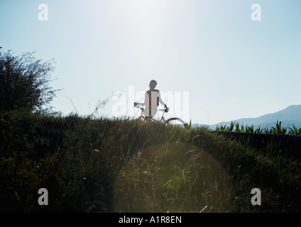 Mountain biker, silhouette Banque D'Images