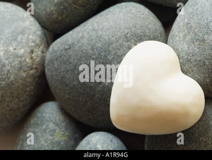 Sur les pierres en forme de coeur Banque D'Images