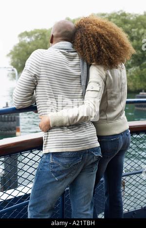 Portrait de couple on Ferry Banque D'Images