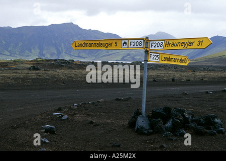 Des panneaux d'information dans le paysage volcanique, l'Islande, Landmannalaugar Banque D'Images