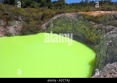 Baignoire du diable au wai-O-Tapu parc thermal. Rotorua, île du Nord, Nouvelle-Zélande