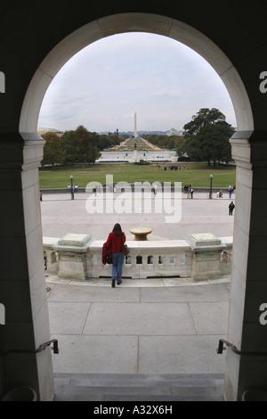 Vue depuis le Capitole à Washington DC vers le Washington Monument. Banque D'Images