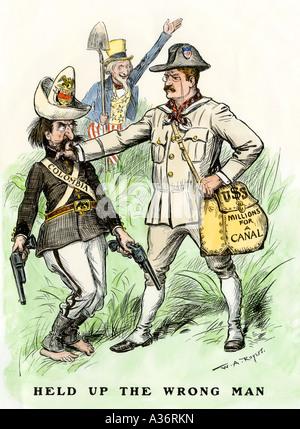 Le président Theodore Roosevelt refusant de payer des millions pour canal homme Columbia 1903. À la main, gravure Banque D'Images
