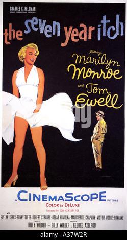 Les SEPT ANS DÉMANGENT affiche pour 1955 TCF film avec Marilyn Monroe et Tom Ewell Banque D'Images
