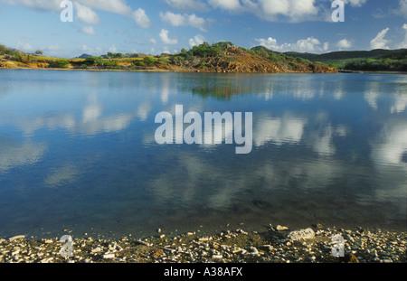 Vue sur lagon d'eau salée Gotomeer à Bonaire Antilles Néerlandaises Banque D'Images
