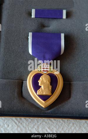 United States Purple Heart médaille décernée à ceux qui ont été blessés ou tués au combat Banque D'Images