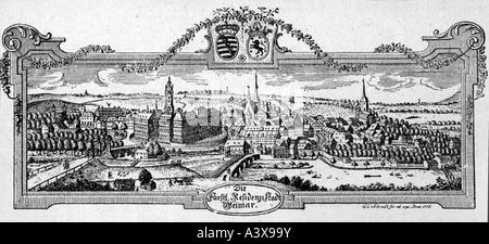Géographie / voyages, Allemagne, Thuringe, Weimar, vues sur la ville / paysages urbains, panorama, gravure, 1776, Banque D'Images