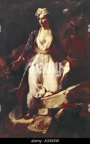 """'Fine Arts, Delacroix, Eugène, (1798 - 1863), peinture, 'la Grèce sur les ruines de Missolonghi"""", 1826, huile sur Banque D'Images"""