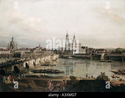 'Fine Arts, Bellotto, Bernardo, appelé Canaletto, (1722 - 1780), peinture, 'vue sur Dresde Neustadt', pont de 1765, Banque D'Images