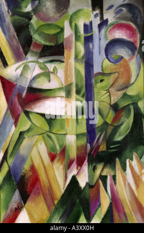 'Fine Arts, Marc, Franz, (1880 - 1916), peinture, 'Die kleinen Bergziegen', ('le petit chèvre de montagne'), 1914, Banque D'Images