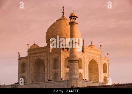L'Inde Uttar Pradesh Agra Taj Mahal au coucher du soleil de l'arrière Banque D'Images