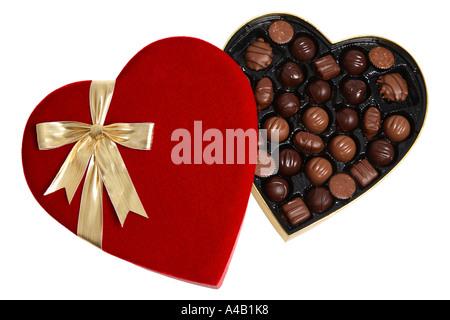 Boîte en forme de coeur de la Saint Valentin Chocolats Banque D'Images