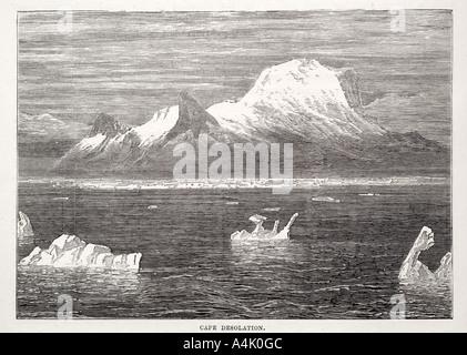 L'Antarctique Antarctique cap Desolation mountain coast line bay ice berg pôle mer flottante sud polaire froid maritime Banque D'Images