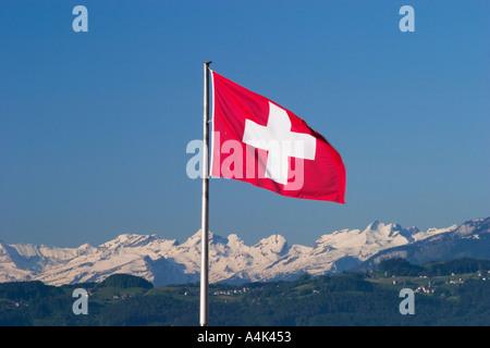 Drapeau suisse et les Alpes Banque D'Images