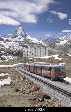 Chemin de fer du Gornergrat en face du Cervin Suisse Banque D'Images