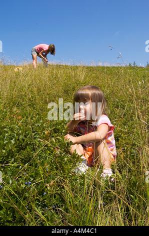 La mère et l'enfant et cueillette de bleuets sauvages de l'alimentation Banque D'Images