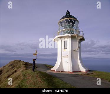 De l'extérieur du phare installé en 1941 déplacé de Cape Maria Van Diemen du cap Reinga Northland Nouvelle-Zélande Banque D'Images