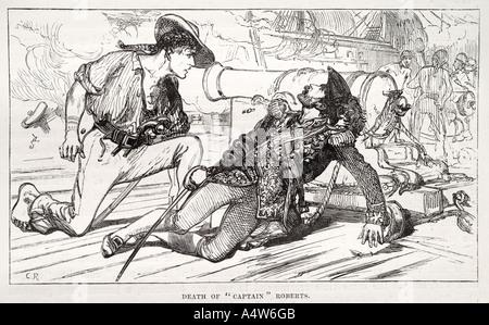 Disparition le capitaine Bartholomew Roberts buccaneer pirates pont marin cannon épée cutlass livrer bataille blessé Banque D'Images