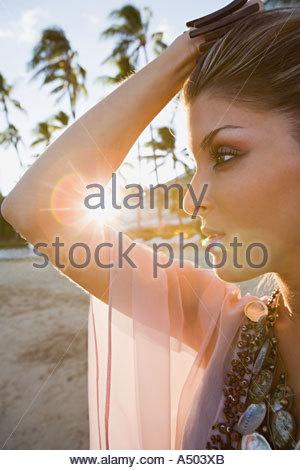 Belle Femme de profil Banque D'Images