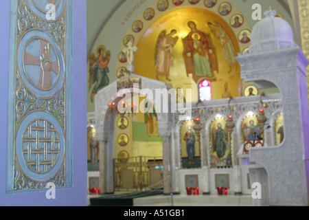 Coral Gables Miami Floride Saint Sophia Cathédrale Orthodoxe Grec autel art religieux Banque D'Images