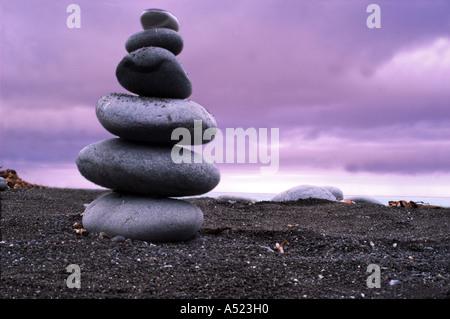 Galets pierres empilées Banque D'Images