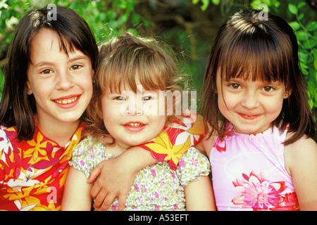 Trois petites filles Banque D'Images