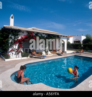 Villa privée typique de Minorque, Iles Baléares, Espagne Banque D'Images