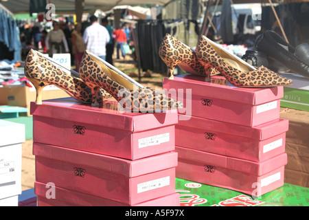 Deux paires de chaussures en peau de léopard sur une boîte Banque D'Images