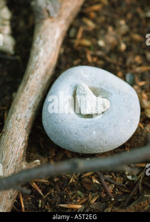 Galets en forme de coeur sur le dessus de la pierre, avec des branches Banque D'Images