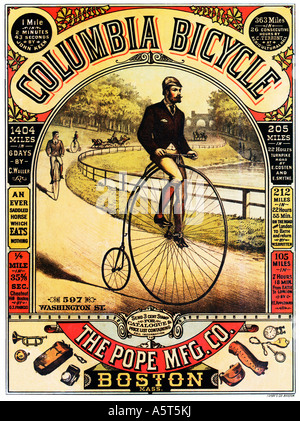 Colombie-britannique Location 1886 affiche pour le Penny Farthing fait à Boston mais sur les dossiers montés en Banque D'Images