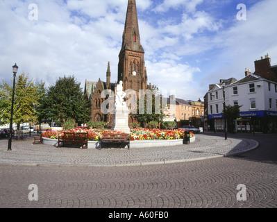 Dh Robert Burns DUMFRIES GALLOWAY Statue et affichage de la flore