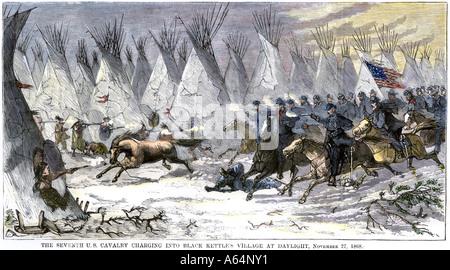 Le Colonel John Chivington qui nous massacre de cavalerie Chef Black Kettle et un village de friendly indiens à Banque D'Images