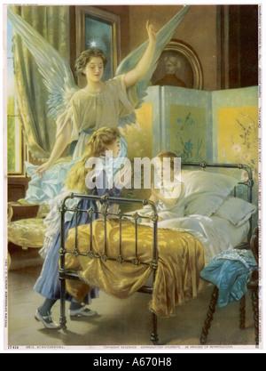 Ange gardien au Bed Banque D'Images