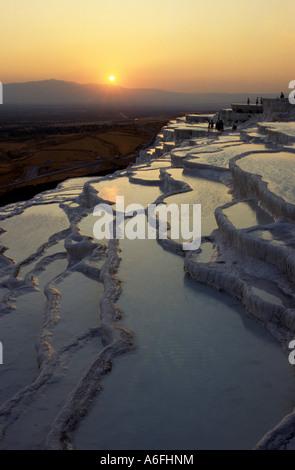 Coucher du soleil du sud-ouest de Pamukkale Turquie Banque D'Images