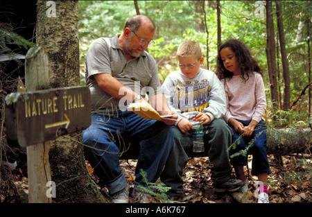 Les enfants adultes Woods Banque D'Images