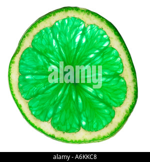 Seule tranche de lime (close-up) Banque D'Images