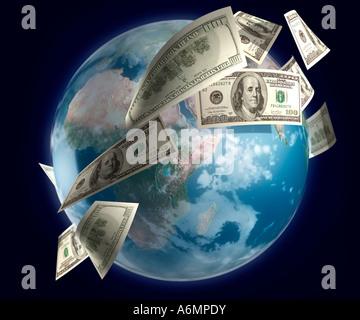 L'argent voler autour du globe Banque D'Images