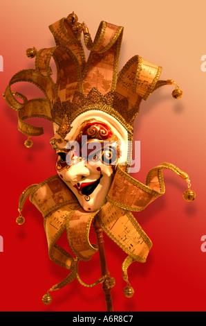 Carnaval vénitien masque de papier mâché papier mâché de fou Banque D'Images