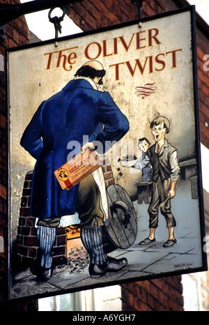 Oliver Twist (1838) est le deuxième roman de Charles Dickens Pub Bar. Banque D'Images