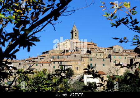 Italie, Toscane, le village de Monticello Amiata près de Mont Amiata Banque D'Images