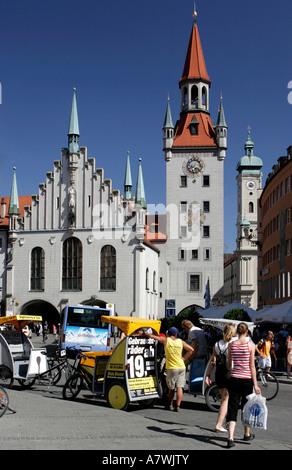Old town hall, Marienplatz, Munich, Haute-Bavière, Bavière, Allemagne Banque D'Images