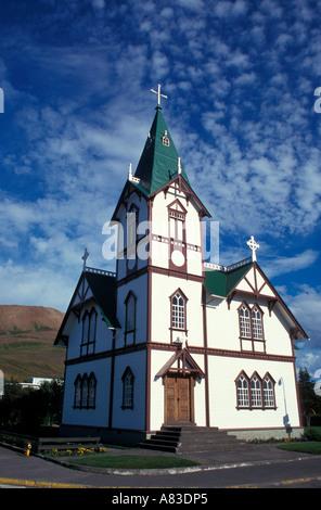 L'Église luthérienne à Husavik Islande Banque D'Images