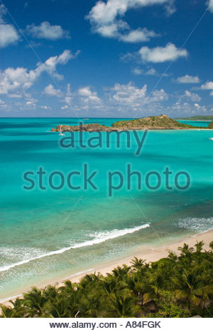 Des vues sur la plage de Galley Bay, Antigua, Leeward Islands, Caribbean Banque D'Images
