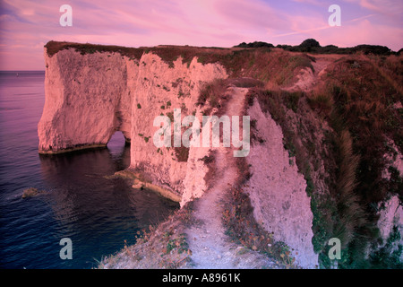 Dawn Old Harry Rocks Poole Bay côte jurassique Dorset England Angleterre UK Banque D'Images