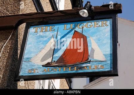 La ligne du port de Fowey enseigne de pub Cornwall England UK Europe Banque D'Images
