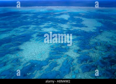 Vue aérienne de la Grande Barrière de corail en Australie Queensland N'horizontale Banque D'Images