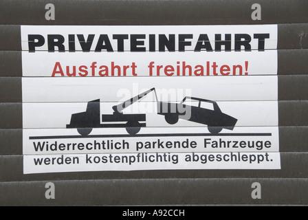 Inscrivez-Privateinfahrt, Ausfahrt freihalten, entrée privée, garder clair de sortie Banque D'Images